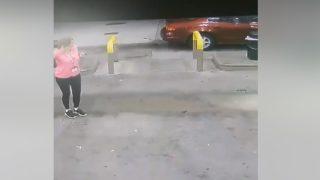 ガソリンスタンドで給油しようとした女性、野生のシカに頭を蹴られる