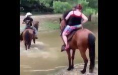 【海外の反応】ぽっちゃりし過ぎた女性を乗せて燃え尽きた馬…